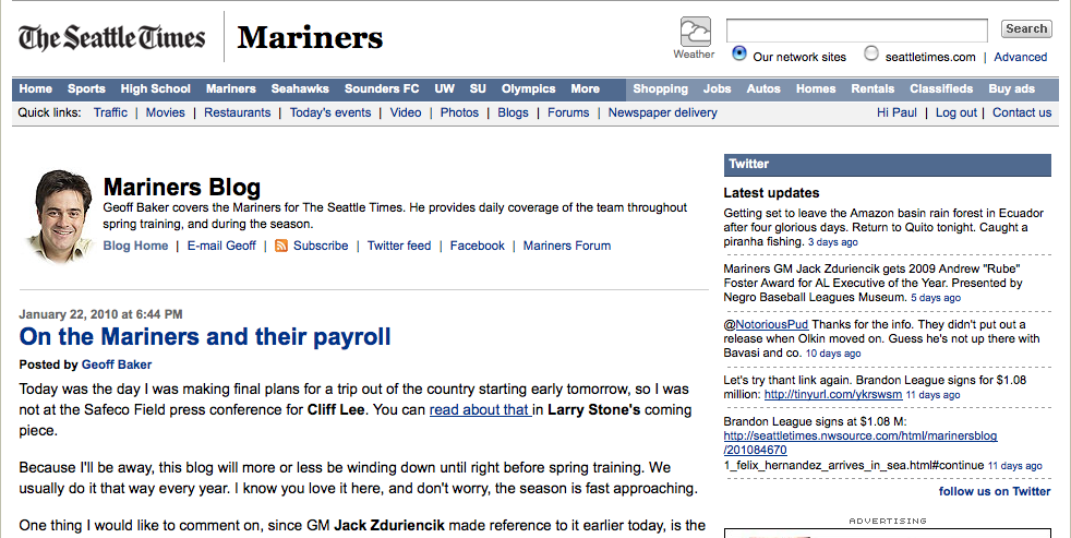 Mariners Blog screenshot