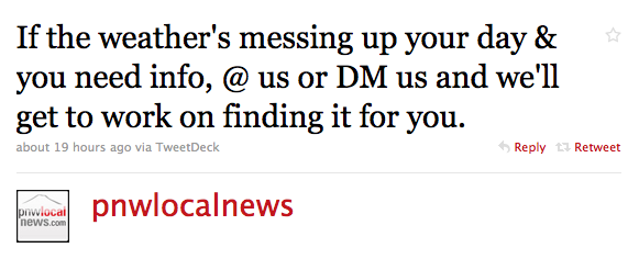 """""""If the weather's messing up your day & you need info, @ us or DM us and we'll get to work on finding it for you."""""""