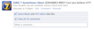 Scrren grab of KIRO 7 Facebook status update on Seahawks vs. Saints playoff result