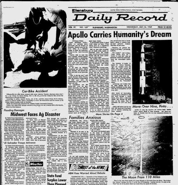 Daily Record front page from July 16, 1969