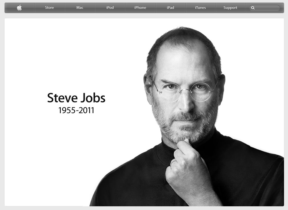 Apple's home page dedicated to Steve Jobs