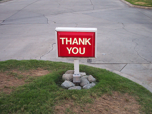 Image of a thank you sign