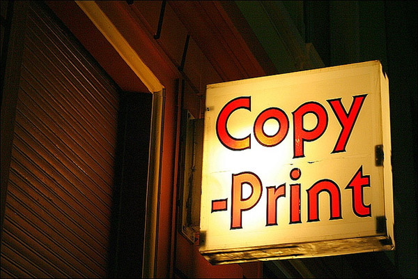 "Image of a sign that reads ""Copy -Print"""