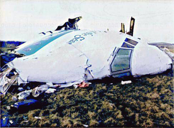Image of the crashed cockpit of Pan Am 103