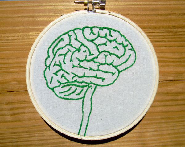 Picture of a brain embroidered on some fabric