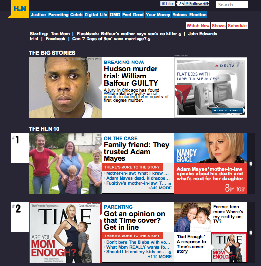 A screenshot of HLN's home page