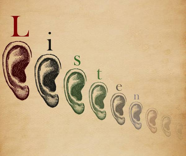Illustration of ears and the word 'listen'