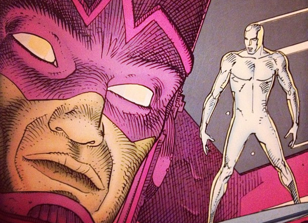 Drawing of the Silver Surfer and Galactus