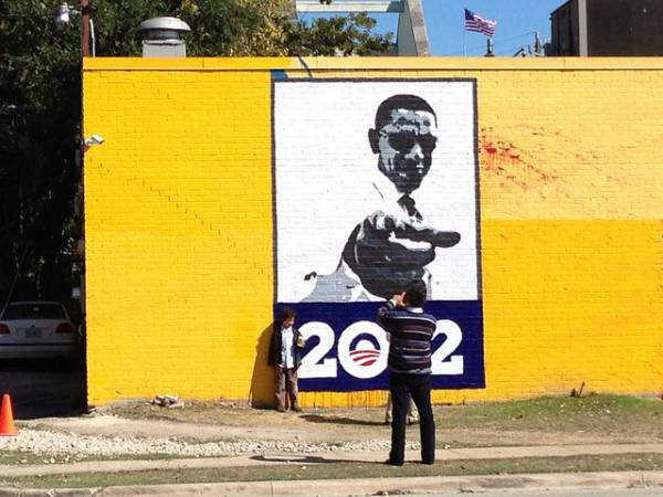 Image of Pres. Obama and 2012 painted on a wall